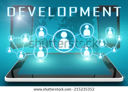 Development - text illustration with social icons and tablet computer and mobile cellphones on cyan digital world map background - stock photo