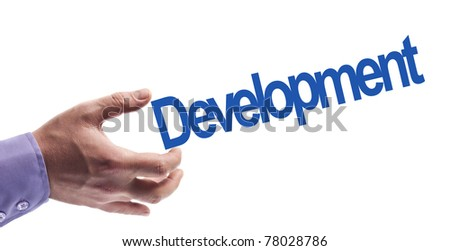 Development word in male hand
