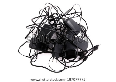 device chargers isolated on white - stock photo