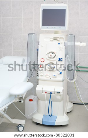Device for dialysis session in hospital - stock photo