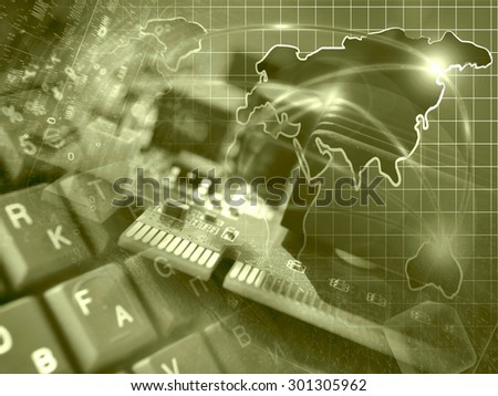 Device, keyboard and map - abstract computer background in sepia. - stock photo