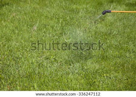 Device of spraying pesticide. Clarity on the head of the sprayer. - stock photo