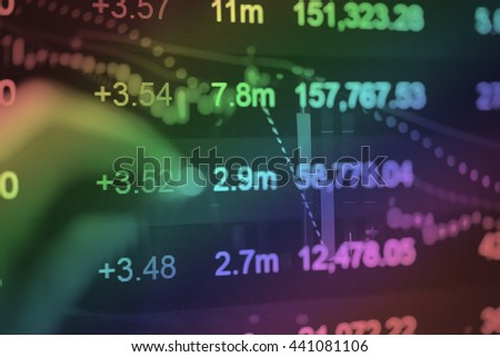 Device on hand to check stocks and market data. Market graph with arrows tending.Digital Marketing Graph Statistics Analysis Finance Market Concept. Marketing Analysis Accounting from digital chart. - stock photo