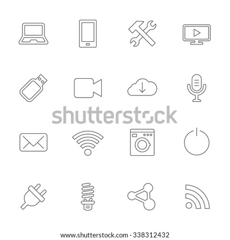 Devices and technologies icons. Notebook, smartphone and wi-fi symbols. Usb flash, video camera, microphone thin outline signs. Washing machine, fluorescent lamp and electric plug. Outline line icon.  - stock photo