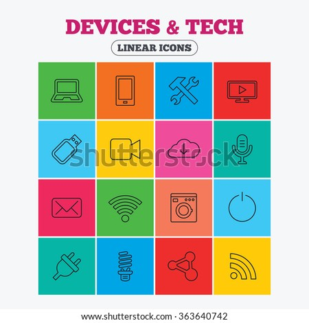 Devices and technologies icons. Notebook, smartphone and wi-fi symbols. Usb flash, video camera, microphone thin outline signs. Washing machine, fluorescent lamp and electric plug. Linear icons.