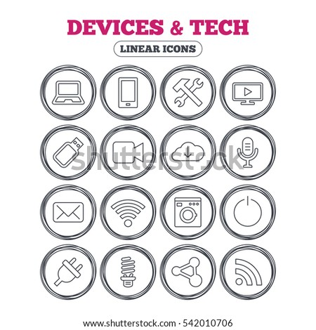 Devices and technologies icons. Notebook, smartphone and wi-fi symbols. Usb flash, video camera, microphone thin outline signs. Washing machine, fluorescent lamp and electric plug.