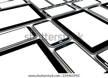 devices collection with blank screens - stock photo