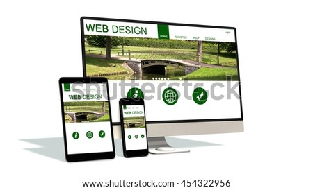 devices responsive with responsive website design - 3d rendering