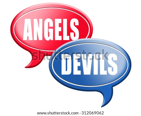 devil and angel good or evil bad heaven and hell road sign arrow