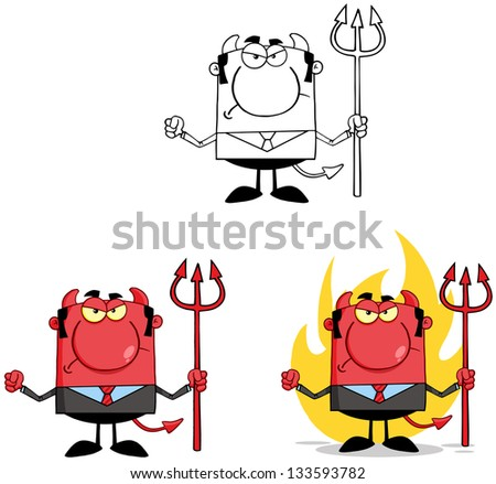 Devil Boss Cartoon Characters. Raster Collection 6 - stock photo