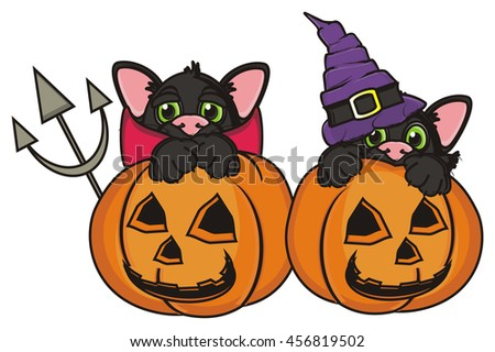 devil cat and the cat in the hat look out from behind orange pumpkins - stock photo