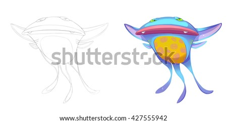 Devil Cat Fish and Marine Bat Creature. Coloring Book, Outline Sketch, Monster Mascot Character Design isolated on White Background  - stock photo