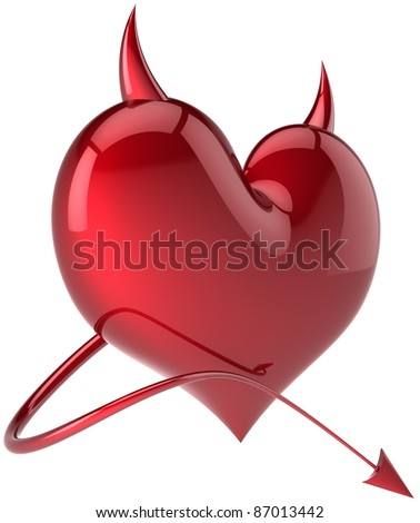 Devil heart Love passion symbol total red with horns and a tail. Demon feeling abstract. Lover flirting concept. Valentine's day holiday symbol. Detailed 3d render. Isolated on white background - stock photo