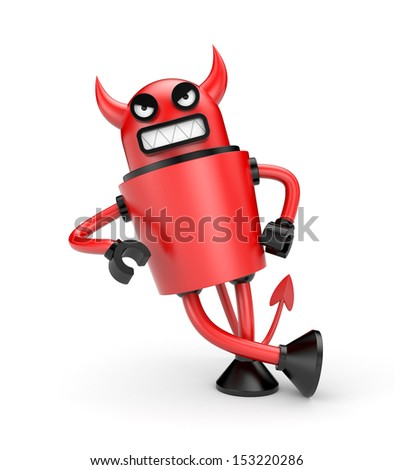 Devil leaning on an imaginary object - stock photo