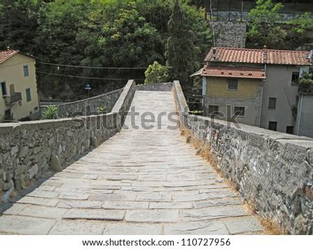 Devil's Bridge in Borgo a Mozzano, Lucca - stock photo
