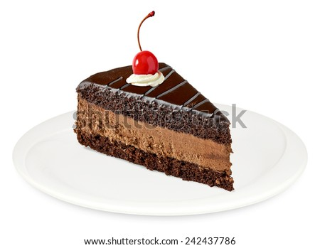 Devil's cake slice with maraschino cherry on white background - stock photo