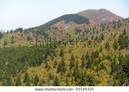 Devil's Courthouse overlook view of colorful mountains - stock photo