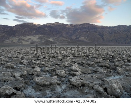 Devil's Golf at Nevada, California, USA. The Death Valley salt pan is one of the largest protected salt pans in North America. - stock photo