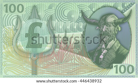 Devil's Money Pound Sterling-Matte art-Green. - stock photo