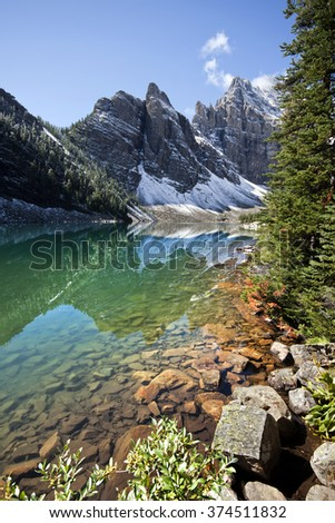 Devil's Thumb Hike, Scramble Lake Louise, Banff National Park, Alberta, Canada Picture taken on August 22, 2015 - stock photo