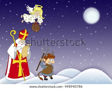 Devil, Saint Nicholas and angel walking during the Christmas season. St. Nicholas gives gifts to good children. Devil, St.Nicholas and angel walking in winter. Angel have sack of gifts. Santa. Devil