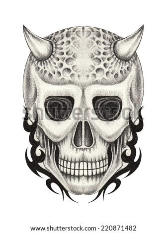 Devil skull tattoo .Hand drawing on paper. - stock photo