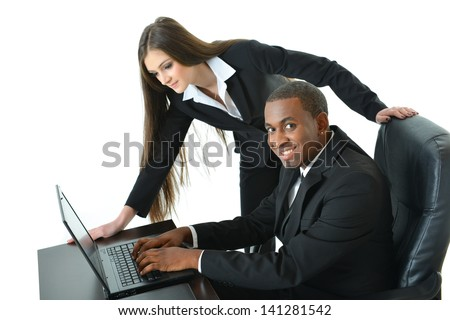 Devious Co-worker up to no good - stock photo