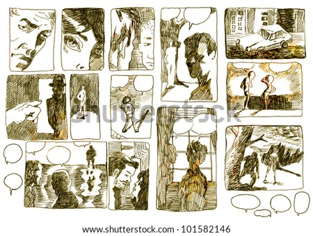 DEVISED COMIX STORYBOARD. Pictures on the classic comix theme. (Figures and images in a vintage effects - sepia haze and sun fading.) - stock photo
