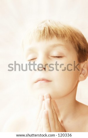 Devotion- hands together in a prayer - divine aura.
