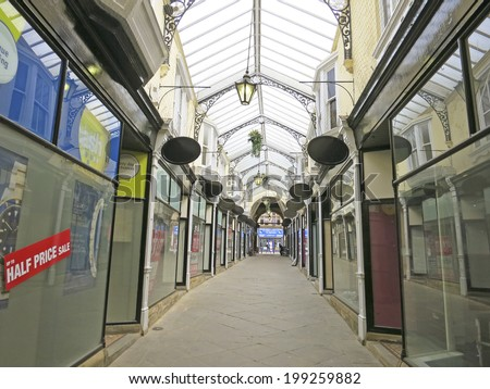 DEWSBURY, UK -JUNE 2014: Arcade, Dewsbury, West Yorkshire, England, UK, 16 June 2014. Dewsbury,  after a period of decline, is redeveloping  derelict mills into flats and regenerating city areas. - stock photo