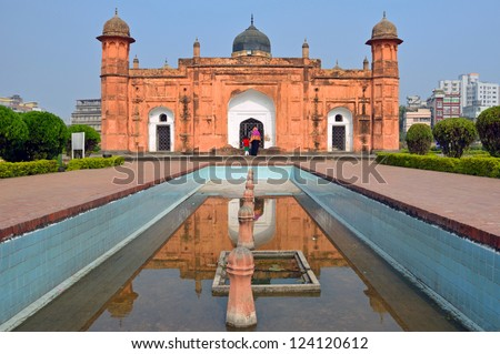 DHAKA,BANGLADESH - DECEMBER 13: Lalbagh Fort facade on December 13, 2012 in Dhaka,Bangladesh. Lalbagh Fort is an incomplete fortress and the construction of it was begun in 1678 but abandoned in 1684. - stock photo