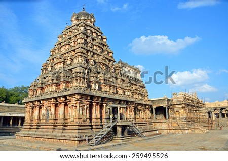 DHARASURAM, INDIA - FEBRUARY 6 2015: Airatesvara Temple is a Hindu temple of Dravidian architecture and was constructed by Rajaraja II in 12th century. - stock photo