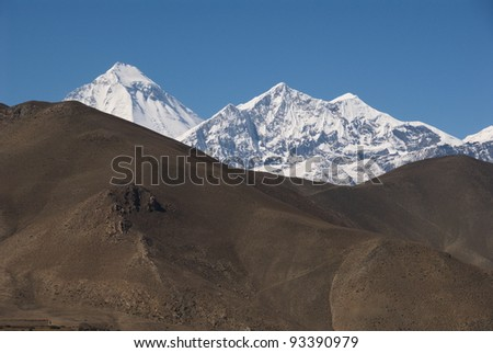 Dhaulagiri and Nilgiri as seen from the path between Jharkot ad Muktinath