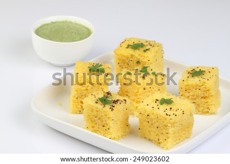 dhokla snack - stock photo
