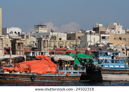Dhows at Dubai Creek, United Arab Emirates - stock photo