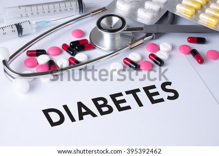 DIABETES CONCEPT Background of Medicaments Composition, Stethoscope, mix therapy drugs doctor flu antibiotic pharmacy medicine medical - stock photo