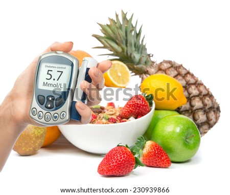Diabetes diabetic concept glucose meter in hand and healthy organic food lemon, pear apples fresh orange pineapple and breakfast cereal muesli bowl on a white background