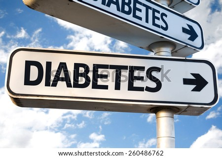 Diabetes direction sign on sky background - stock photo