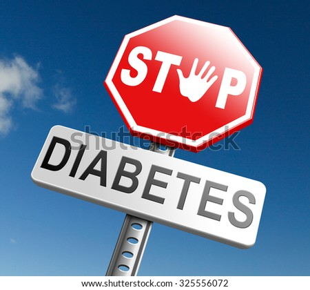 diabetes find causes and sceen for symptoms of type 1 or 2 prevention by dieting or treath with medication or low fat and sugar free diet - stock photo
