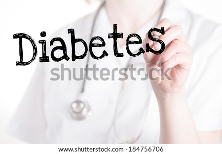 Diabetes handwritten on glass - stock photo