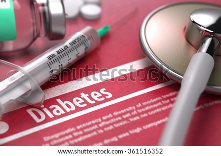 Diabetes - Medical Concept on Red Background with Blurred Text and Composition of Pills, Syringe and Stethoscope. - stock photo