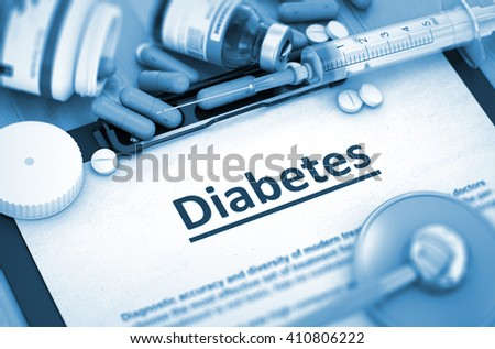 Diabetes, Medical Concept with Selective Focus. Diabetes, Medical Concept with Pills, Injections and Syringe. Diabetes Diagnosis, Medical Concept. Composition of Medicaments. 3D. - stock photo