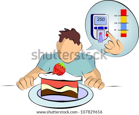 diabetes mellitus with dessert and blood testing - stock photo