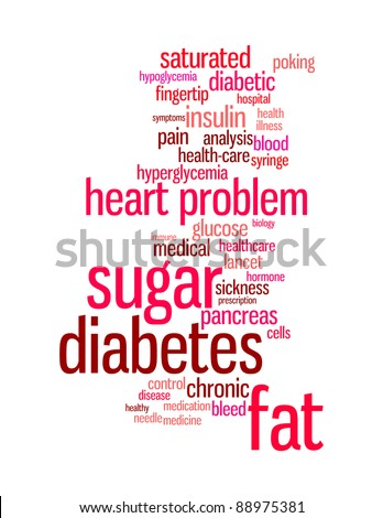 Diabetes sickness info-text graphics and arrangement word clouds concept - stock photo