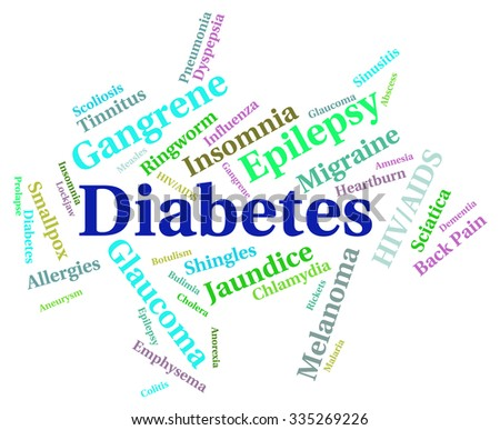 Diabetes Word Indicating Ill Health And Infections - stock photo