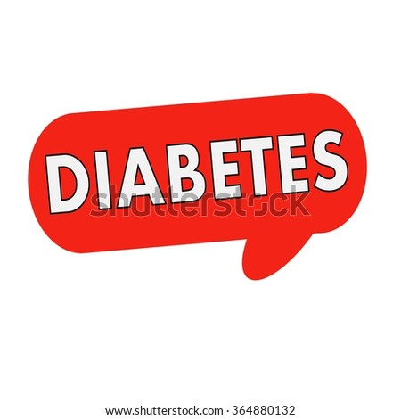diabetes wording on Speech bubbles red cylinder