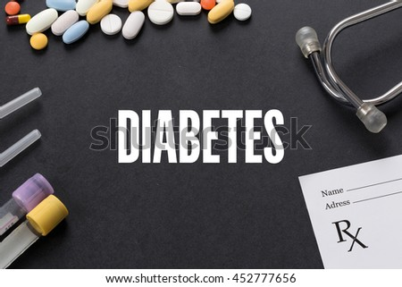 DIABETES written on black background with medication
