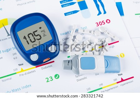 Diabetic test kit on medical background - stock photo