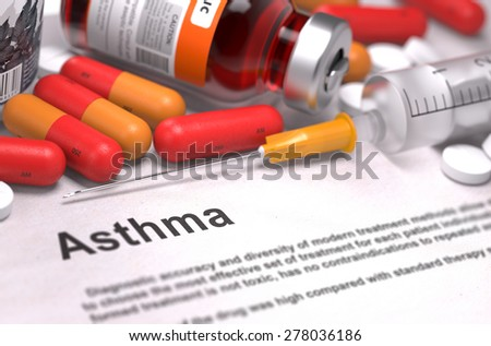 Diagnosis - Asthma. Medical Concept with Red Pills, Injections and Syringe. Selective Focus. 3D Render. - stock photo
