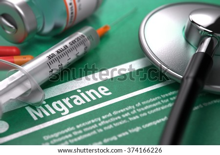 Diagnosis - Migraine. Medical Concept on Green Background with Blurred Text and Composition of Pills, Syringe and Stethoscope. Selective Focus. 3d Render. - stock photo